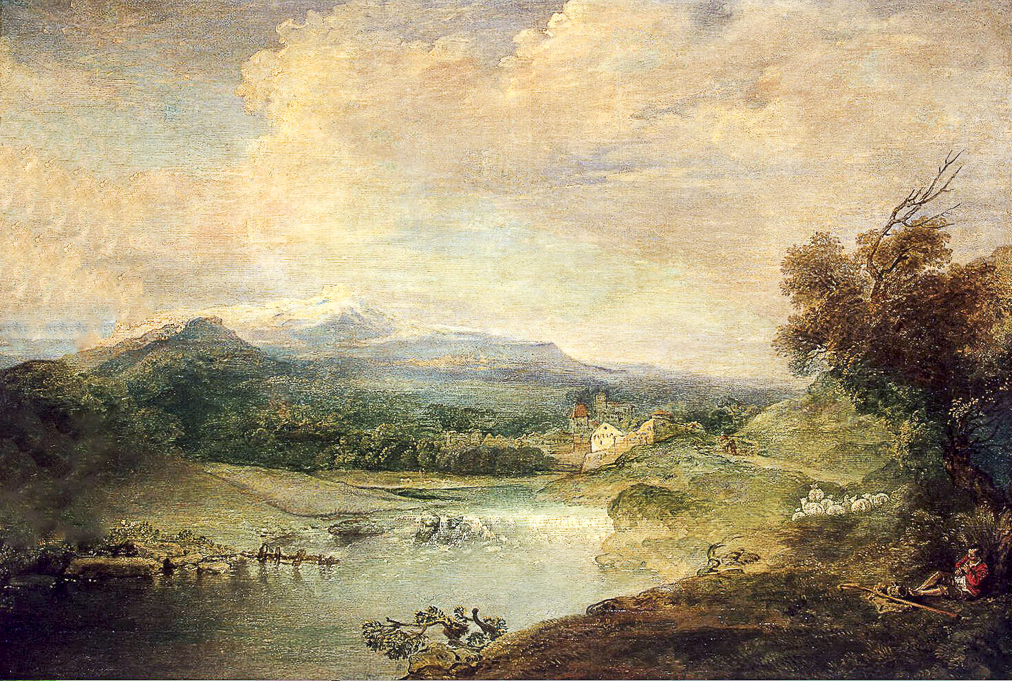Watteau Paysage a la riviere reconstructed
